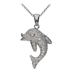 1.15 White GVS Diamonds 18 Karat White Gold Domed Dolphin Pendant Necklace