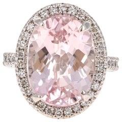 11.50 Carat Kunzite Diamond 14 Karat White Gold Cocktail Ring