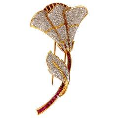 11.50 Carat Natural Ruby Diamond Brooch Pin 3D 18 Karat