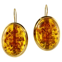 11.50 G Amber, 18 Karat Yellow Gold Dangle Earrings