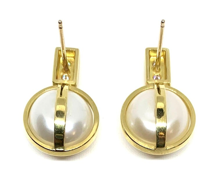 Round Cut Bezel Set Pearls and Diamond 18 Karat Yellow Gold Post Earrings For Sale