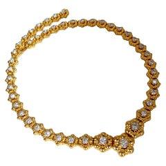 11.50ct Natural Diamonds Eternity Raised Dome Floral Flush Mount Necklace