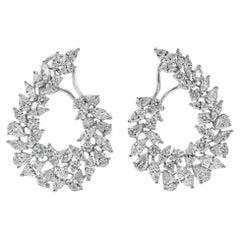 11.52 Carat Brilliant Diamond Wreath Earrings