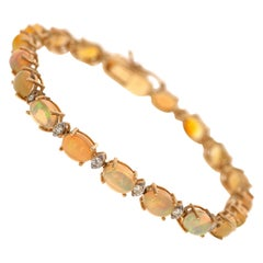 11.52 Carat Opal Diamond 14 Karat Yellow Gold Link Bracelet
