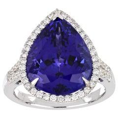 11.53 Carat Pear Tanzanite Ring with Diamonds 18 Karat White Gold