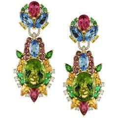 11.53 Carat Peridot with Diamond, Emerald, Tourmaline Starbust Earrings