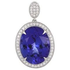11.54 Carat Oval Tanzanite Pendant with Diamonds in 18 Karat White Gold
