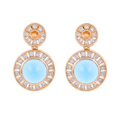 11.56 Carat Blue Topaz Diamond 18 Karat Yellow Gold Earrings
