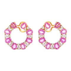 11.57 Carats Pink Sapphire and Diamond 18kt Yellow Gold Wraparound Earrings