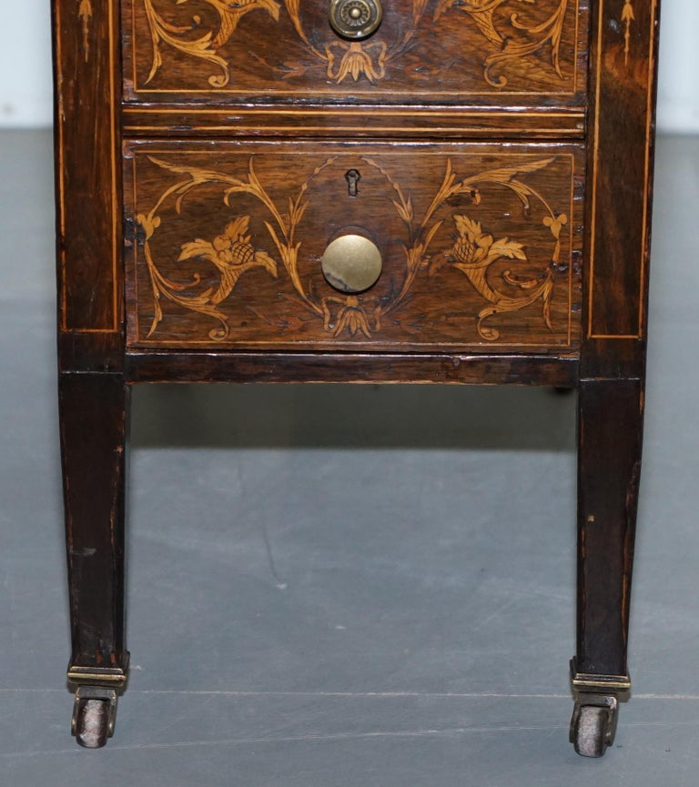 Victorian Rosewood Marquetry Inlaid Writing Partner Desk Green Leather For Sale 3