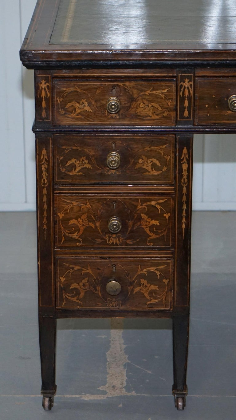 Victorian Rosewood Marquetry Inlaid Writing Partner Desk Green Leather For Sale 5
