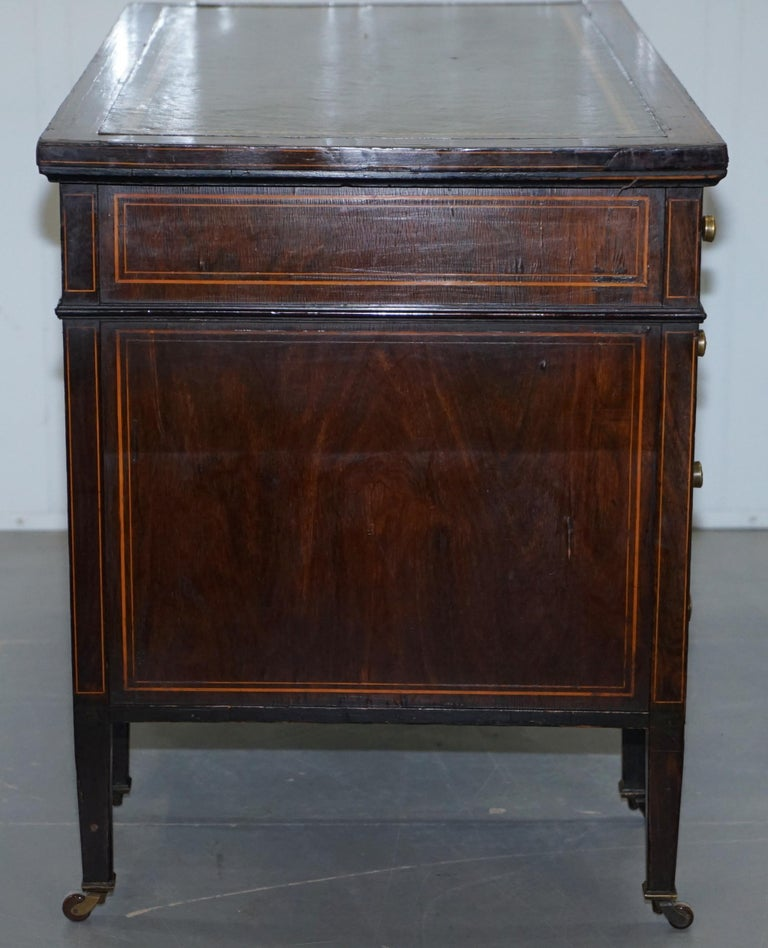 Victorian Rosewood Marquetry Inlaid Writing Partner Desk Green Leather For Sale 8