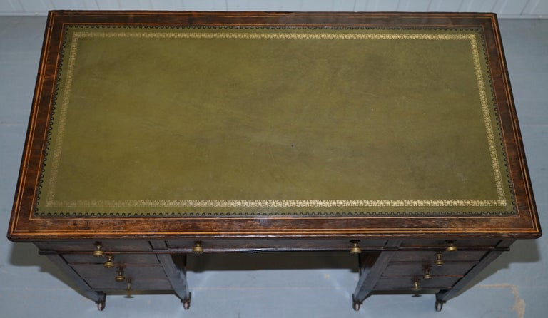 Hand-Crafted Victorian Rosewood Marquetry Inlaid Writing Partner Desk Green Leather For Sale