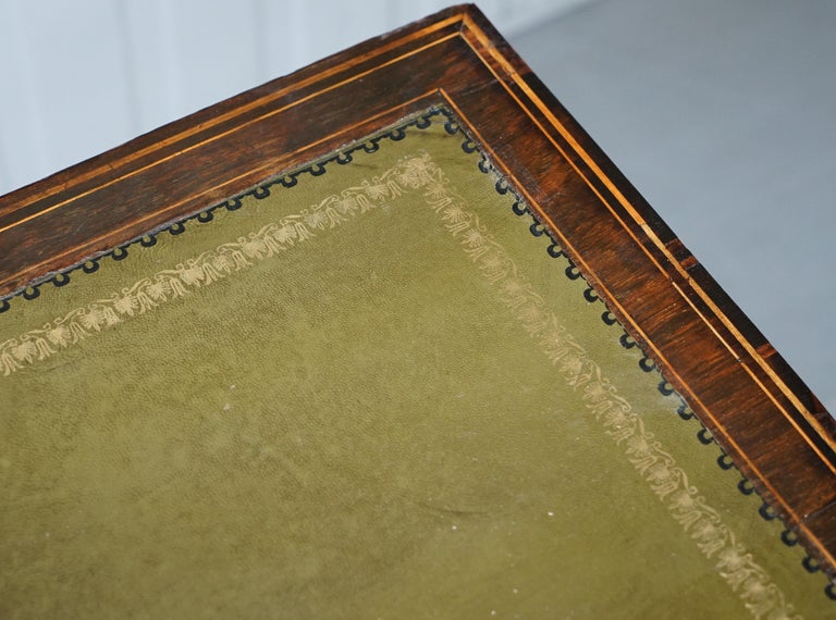 Victorian Rosewood Marquetry Inlaid Writing Partner Desk Green Leather In Good Condition For Sale In London, GB
