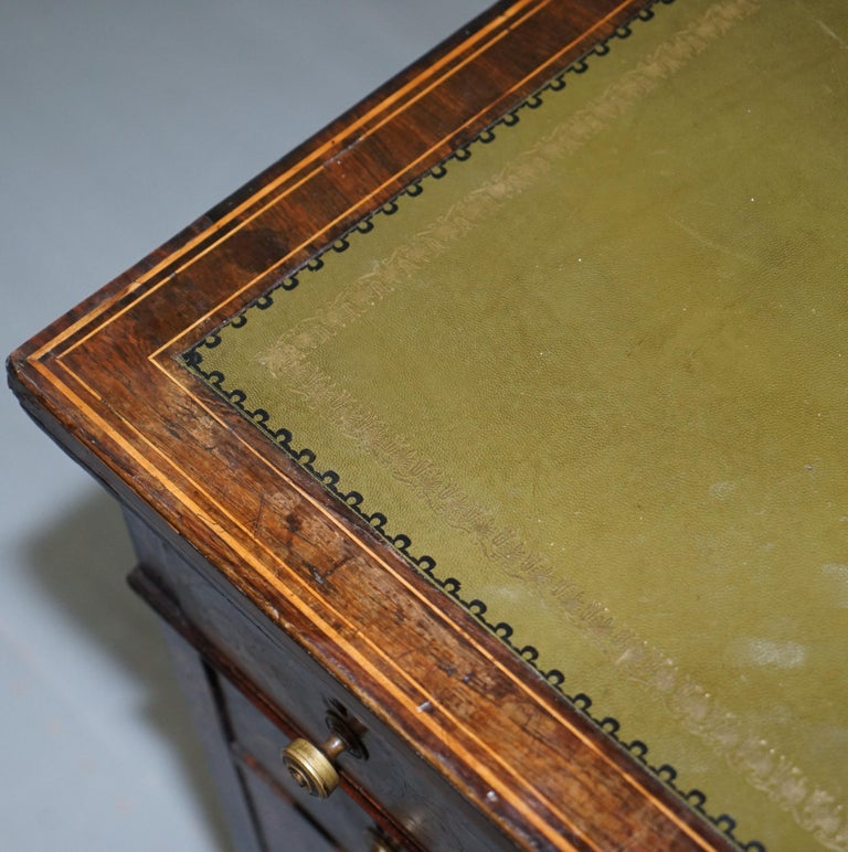 Mid-19th Century Victorian Rosewood Marquetry Inlaid Writing Partner Desk Green Leather For Sale
