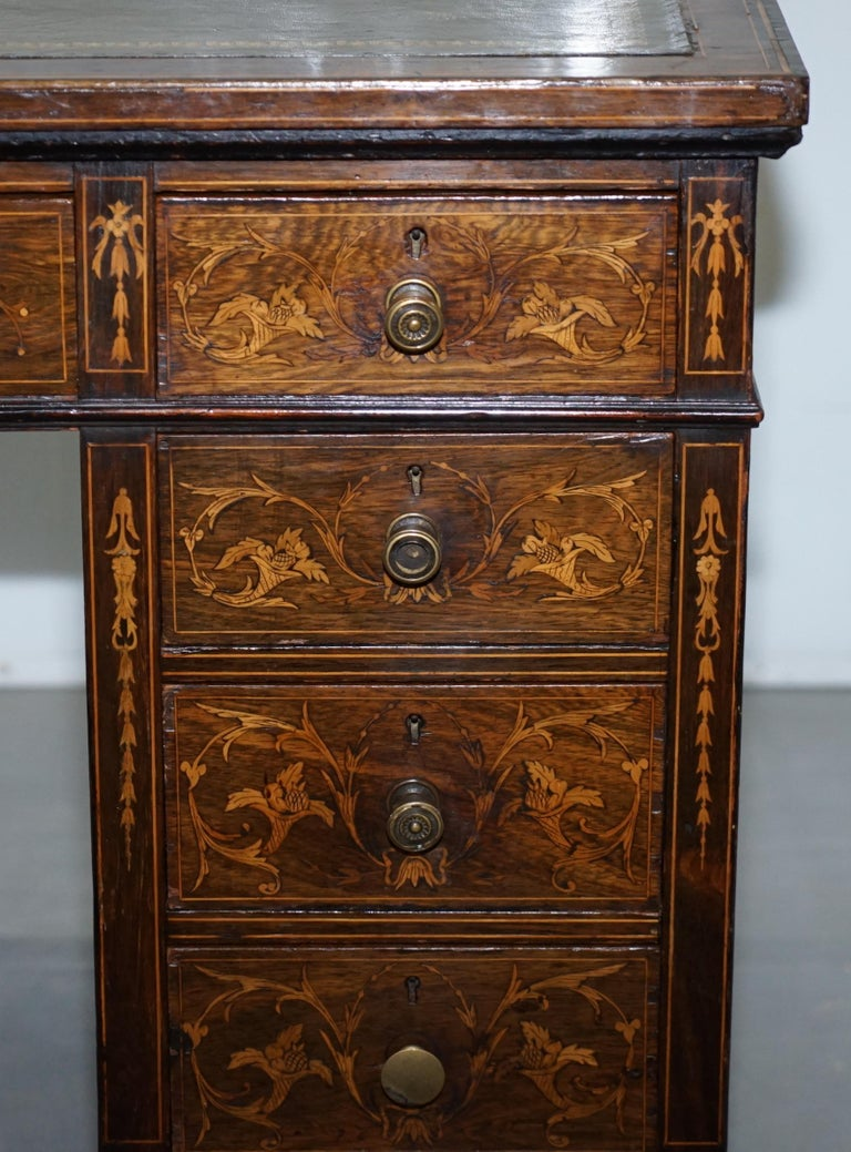 Victorian Rosewood Marquetry Inlaid Writing Partner Desk Green Leather For Sale 1