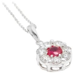 1.15 Carat Natural Red Ruby and Diamond 14 Karat Solid White Gold Necklace