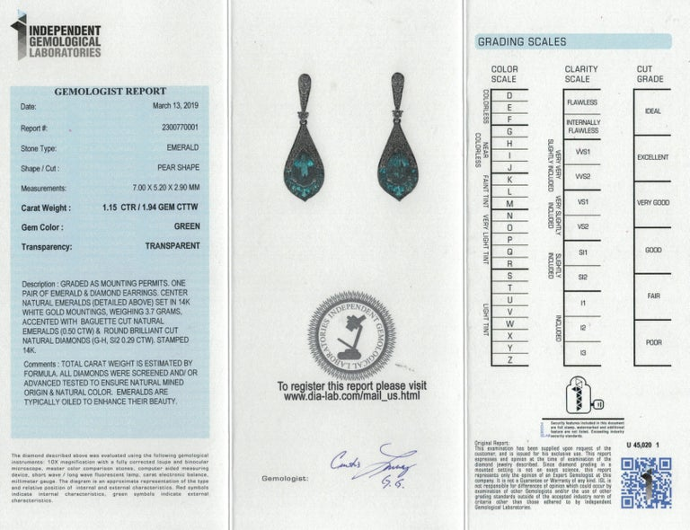 1.15 Carat Pear Emerald and Diamond 14 Karat White Gold Drop Earrings For Sale 1