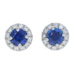 1.15ctw Round Cut Sapphire & Diamond Earrings, 14 Karat Gold Pierced Halo Studs