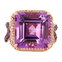 11.6 Carat Amethyst, Pink Sapphire and Diamond Ring in 14 Karat Rose Gold