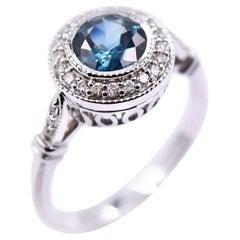 1.16 Carat Blue Green Sapphire and White Diamond Ring in 14 Karat Gold