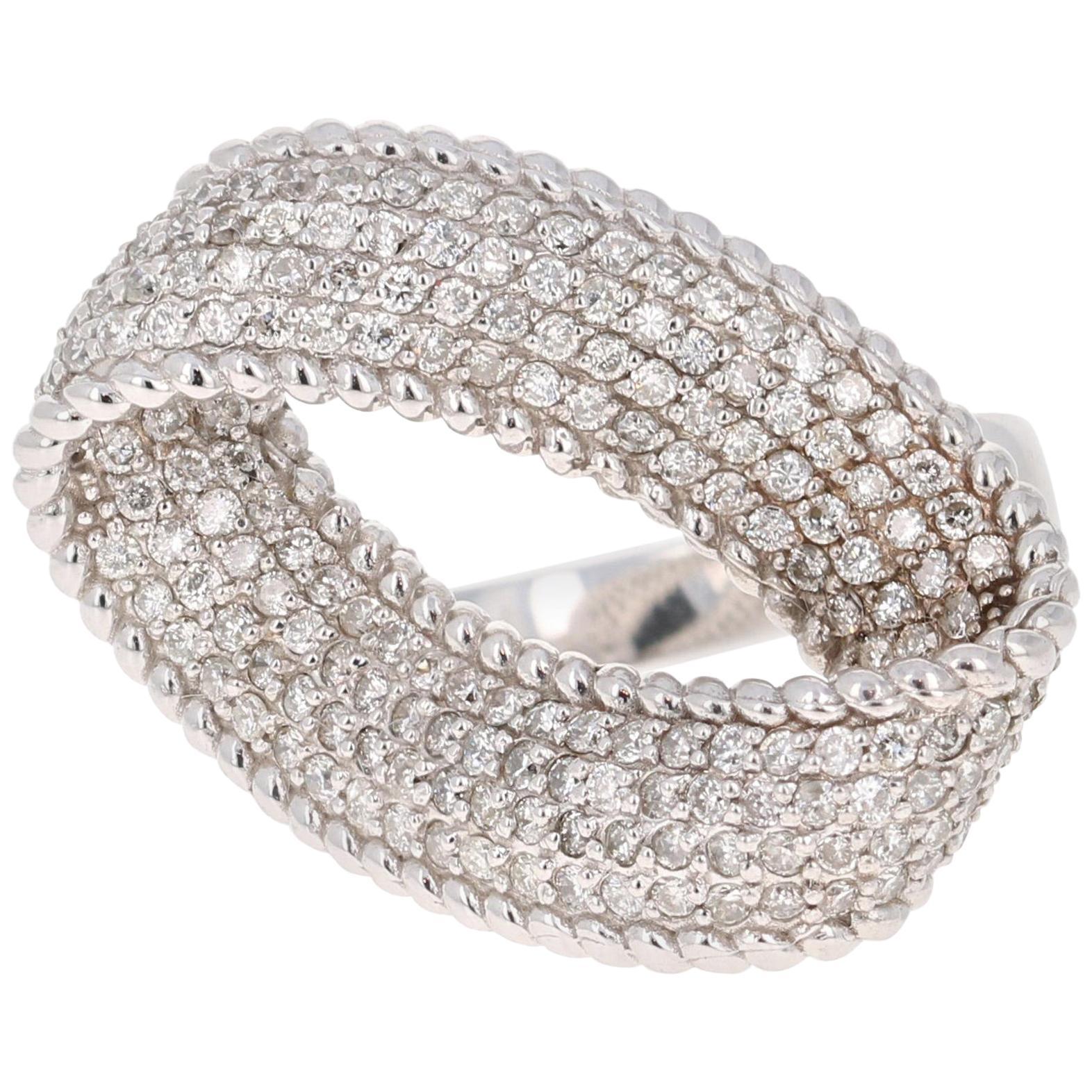 1.16 Carat Diamond 14 Karat White Gold Cocktail Ring