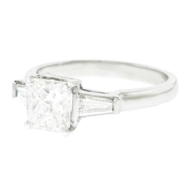 1.16 Carat Diamond Set Platinum Engagement Ring GIA In Excellent Condition For Sale In Litchfield, CT