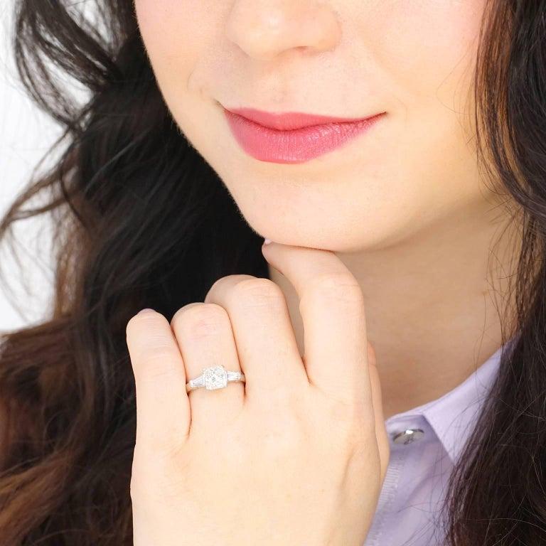 Women's 1.16 Carat Diamond Set Platinum Engagement Ring GIA For Sale