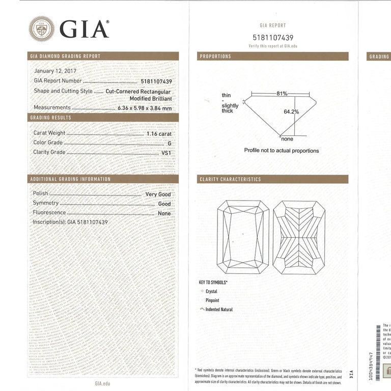 1.16 Carat Diamond Set Platinum Engagement Ring GIA For Sale 5