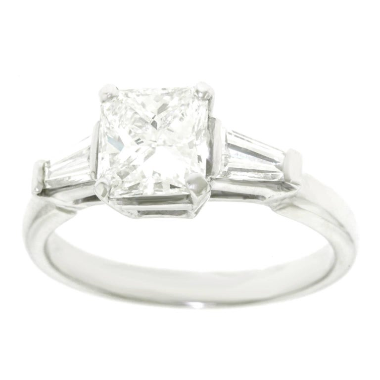 1.16 Carat Diamond Set Platinum Engagement Ring GIA For Sale