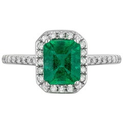 1.16 Carat Emerald Diamond Cocktail Ring