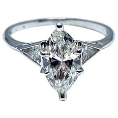 1.16 Carat Marquise Diamond and Platinum Engagement Ring