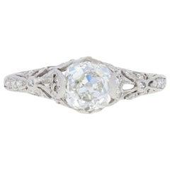 1.16 Carat Mine Cut Diamond Art Deco Ring Platinum GIA Solitaire Vintage
