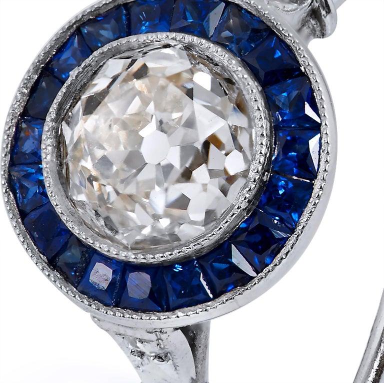 Women's Art Deco Style New 1.16 Carat Old European Cut Diamond Sapphire Platinum Ring For Sale