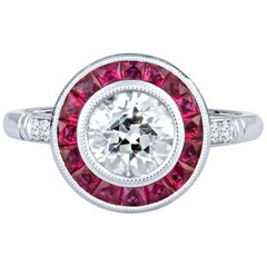 1.16 Carat Old European Diamond with 0.75 Carat Ruby Halo 18k W Gold Ring, GIA