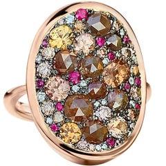 1.16 Carat Padparadsha Sapphire, 2.08 Carat, Diamond, 0.13 Carat, Ruby Pavé Ring