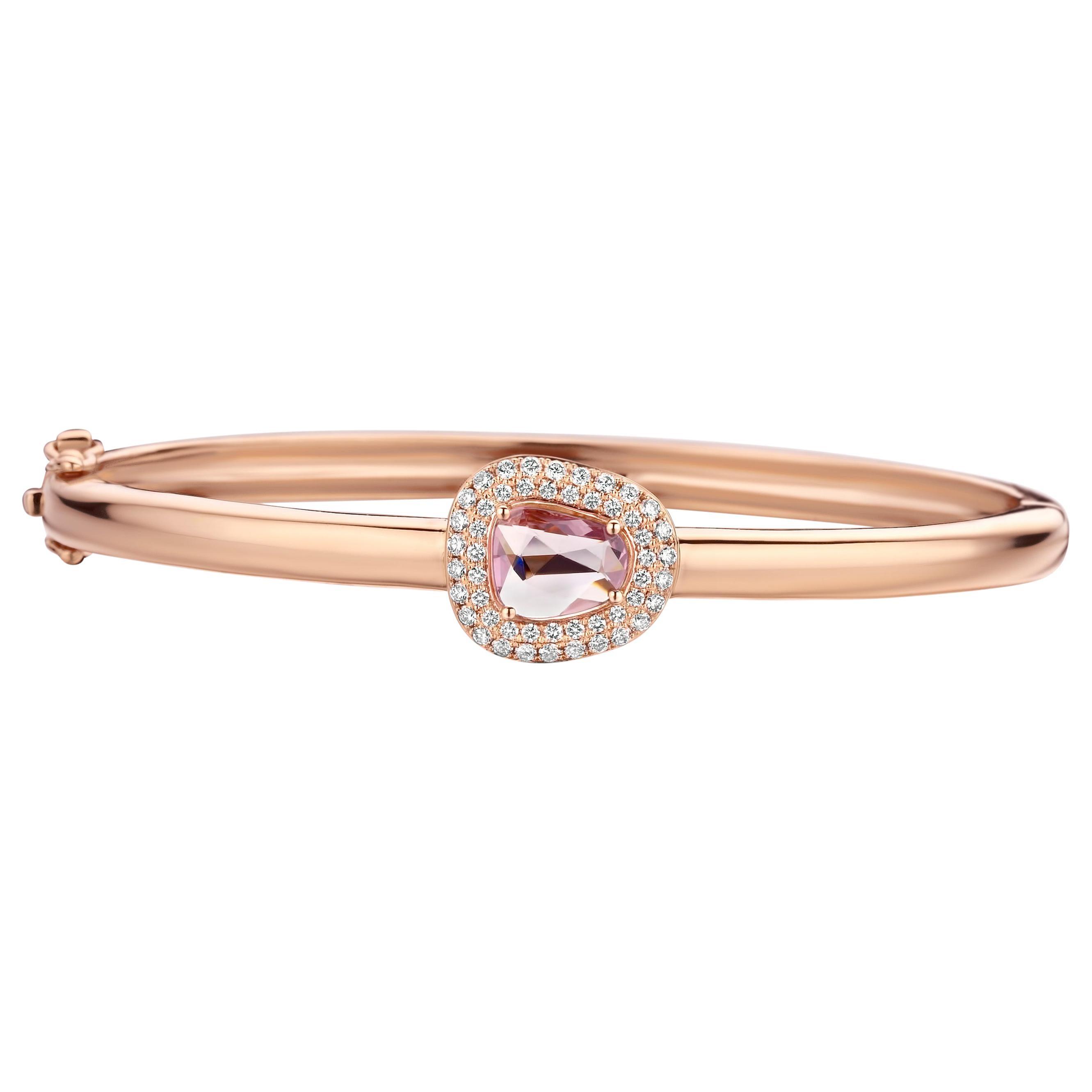 1.16 Carat Pink Sapphire 18 Karat Cluster Diamond Bangle