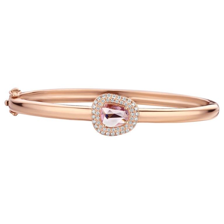 1.16 Carat Pink Sapphire 18 Karat Cluster Diamond Bangle For Sale