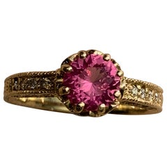 1.16 Carat Pink Spinel Ring with Diamonds in 14 Karat Gold