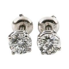 1.16 Carat Round Diamond Stud Earrings Set in 14 Karat White Gold 'I / SI3'