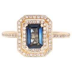 1.16 Carat Sapphire Diamond 14 Karat Yellow Gold Ring