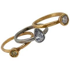 1.16 Carat Three-Ring White & Yellow Diamond Stacker Set in Rose & White Gold
