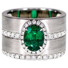 1.16 Carat Vivid Green Emerald and Diamond Ring Matt Finish Cocktail Ring