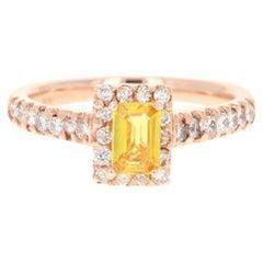 1.16 Carat Yellow Sapphire and Diamond 18 Karat Rose Gold Ring