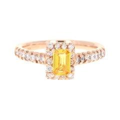 1.16 Carat Yellow Sapphire Diamond 18 Karat Rose Gold Ring