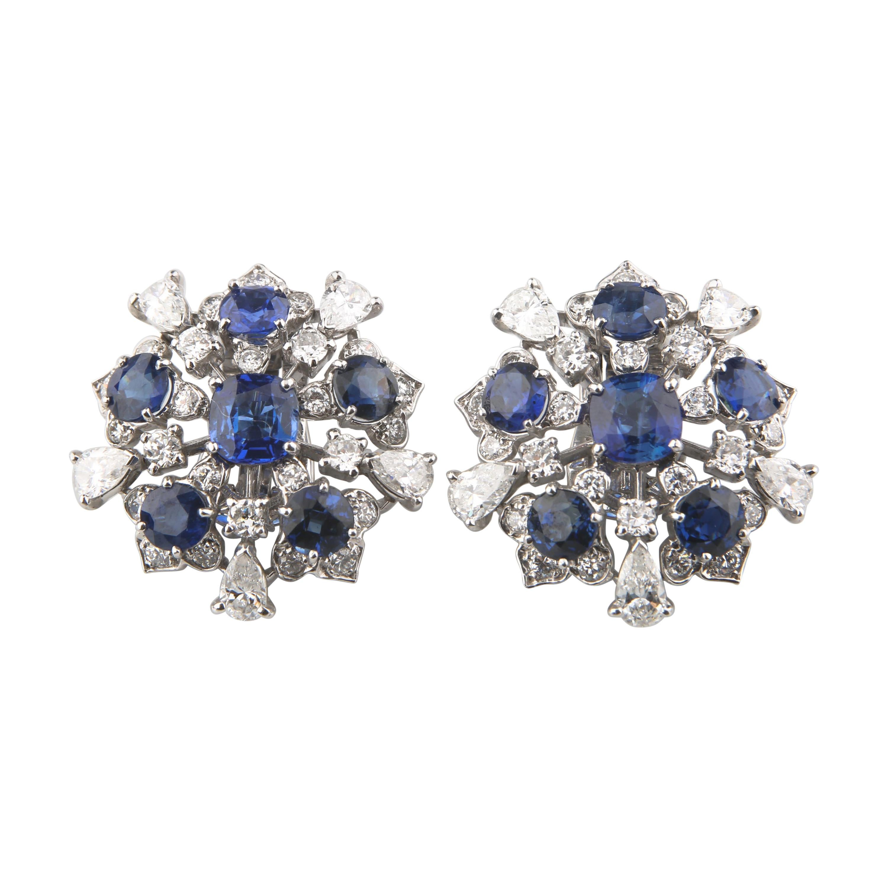 11.60 Carat Blue Sapphire and Diamond 18k White Gold Cluster Earrings