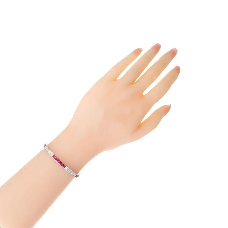 11.60 Carat Ruby Diamond Platinum Tennis Bracelet In Good Condition In Stamford, CT