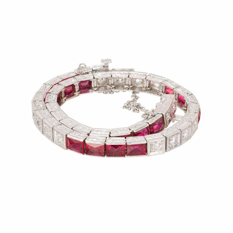Women's 11.60 Carat Ruby Diamond Platinum Tennis Bracelet
