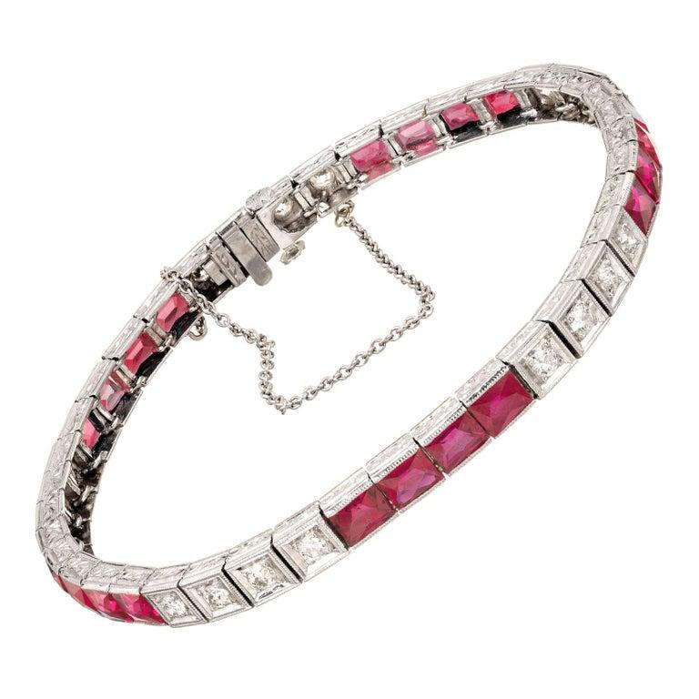 11.60 Carat Ruby Diamond Platinum Tennis Bracelet