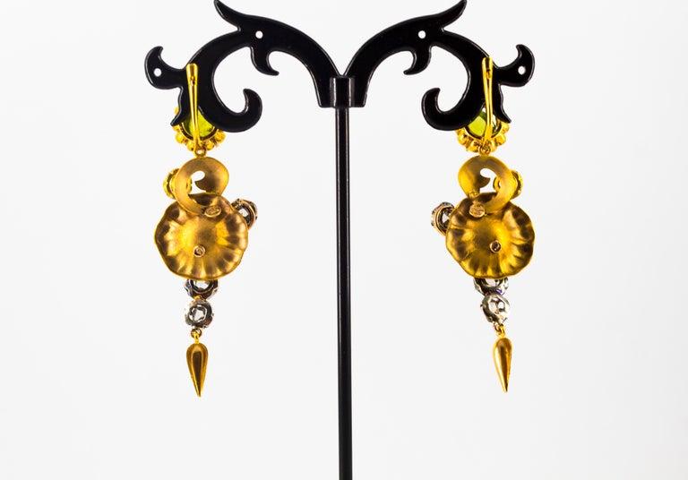 11.60 Carat White Diamond Ruby Tourmaline Topaz Yellow Gold Flowers Earrings For Sale 5